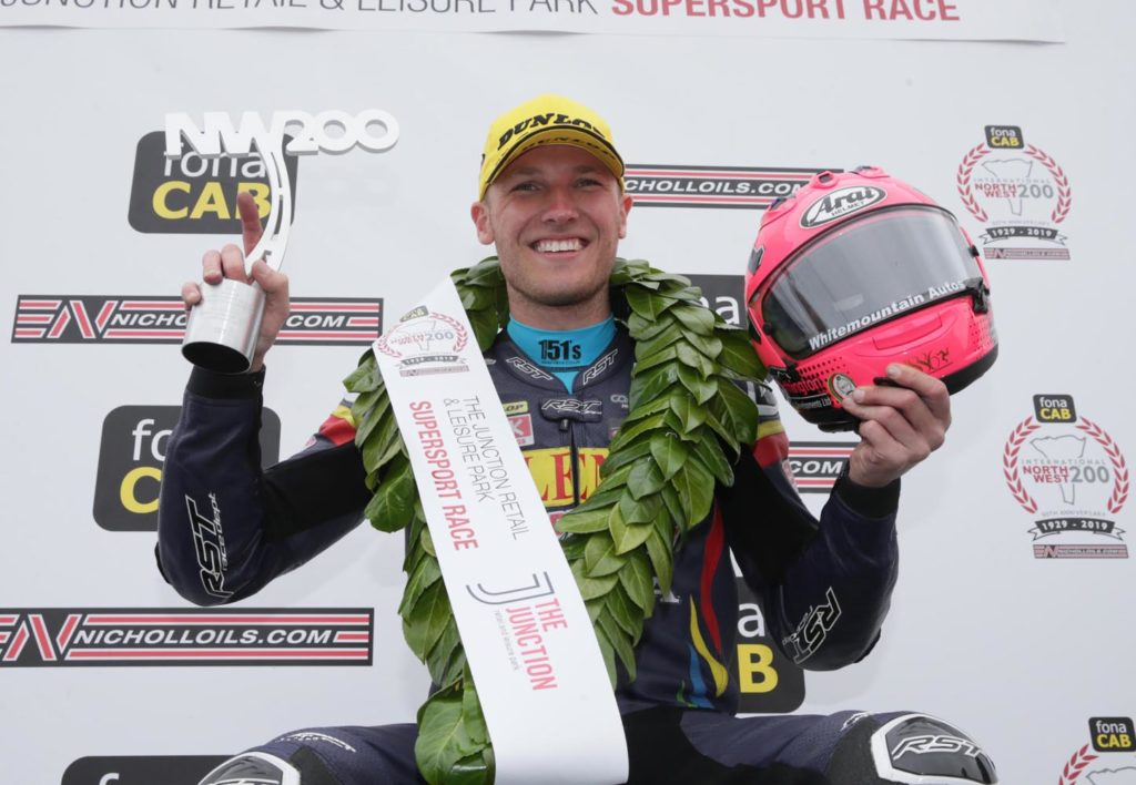 PACEMAKER BELFAST  18/05/2019 Davey Todd (74) celebrates victory during todays The Junction Supersport race at the North West 200. Derek Magee (86, second, and Conor Cummins 10 in third Photo Stephen Davison/Pacemaker Press